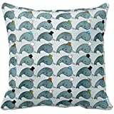 Joutletshop Narwhals with hats 18X18 Inches Throw Pillow Cover For Sofa Office Decorative Pillowslip Gift Ideas Household Pillowcase