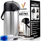 coffee airpot - Thermal Coffee Airpot - Beverage Dispenser (85oz.) By Vondior - Stainless Steel Urn For Hot/Cold Water Or, Pump Action, Party Thermos Carafe, Bunn Brush Bonus, Lid Pitcher