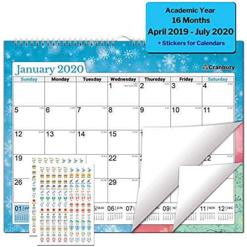 Academic Wall Calendar 2019-2020 (Seasons) 15x12 inch Monthly Large Wall Calendar, Big Hanging Academic Calendar, Use Now to July 2020, with Stickers for Monthly Wall Calendar 2019