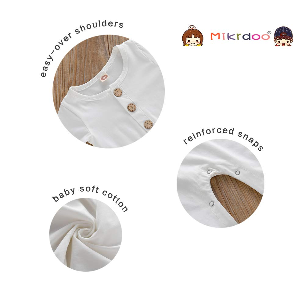 Mikrdoo Newborn Baby Linen Jumpsuit Long Sleeve One Piece Bodysuit Solid Color Button Romper Infant Fall Clothes Outfit