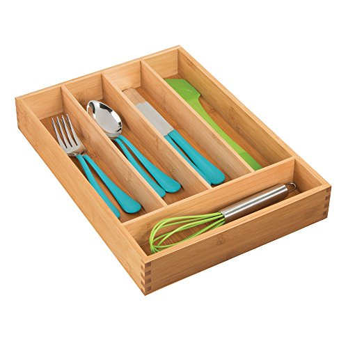 mDesign Bamboo 5 Compartment Kitchen Cabinet Drawer Organize