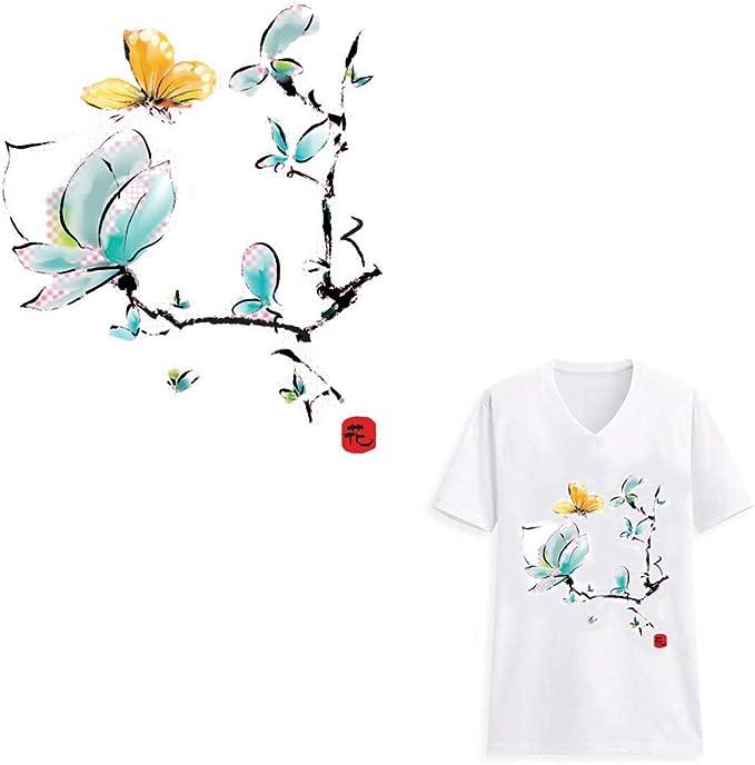 HOODS Parche termoadhesivo para planchar, para camisetas, vaqueros, abrigos, manualidades, flores, color azul