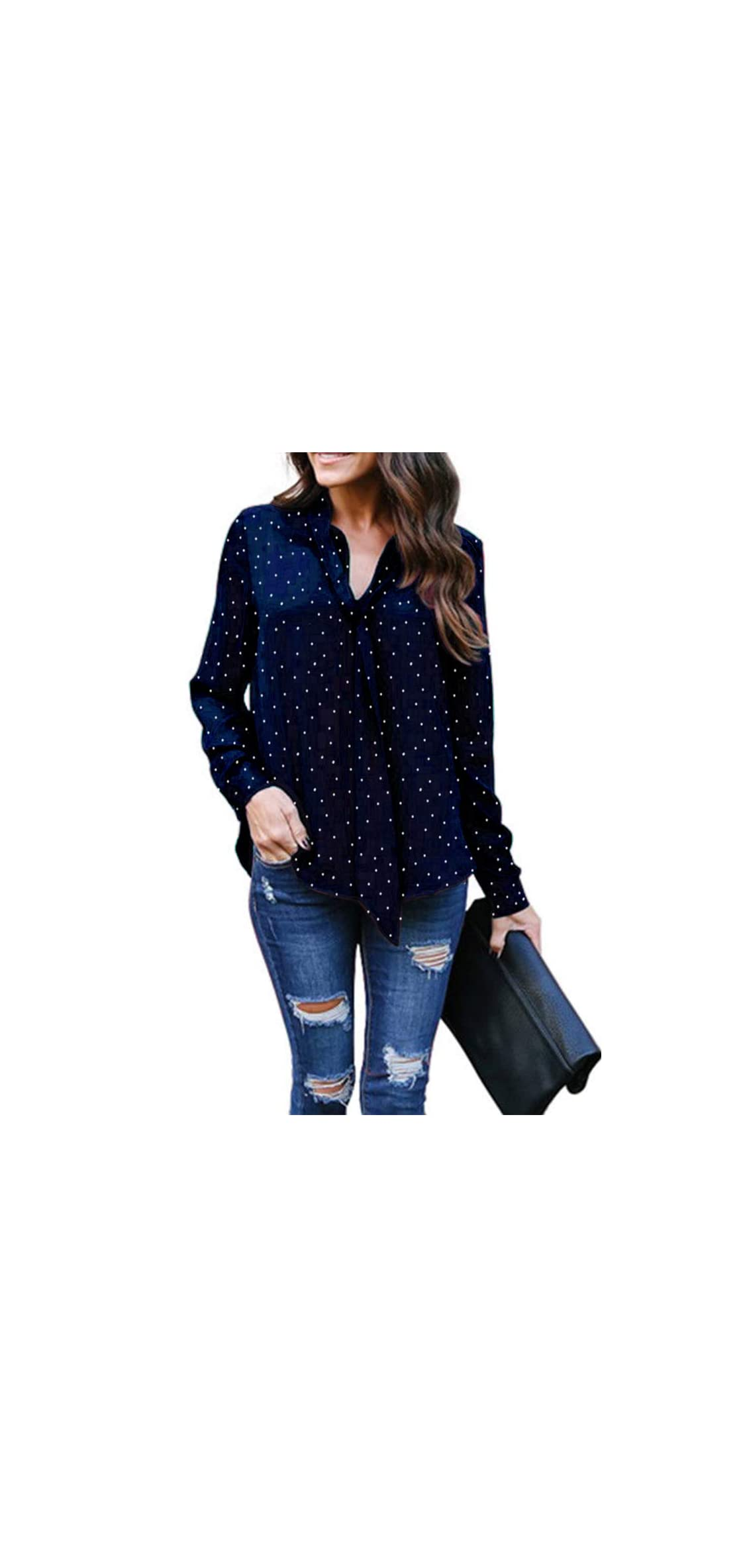 Women's Bow Tie Curved Hem Polka Dot Long Sleeve Blouse