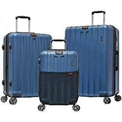 Olympia Sidewinder 3 Piece Luggage Set 21/25/29 inch, Navy