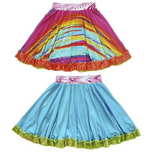 TwirlyGirl Reversible Twirly Ruffle Skirt Girls Fun Style   Rainbow Magic Mist Size 14