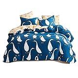 Uozzi Bedding Goose Pattern Cotton Dark Blue Duvet Cover Set Reversible Print-Boys,Teen, Girls, Adults - Premium 3PC Hypoallergenic Bedding Set -Cute Soft Hotel Luxury (Goose, Queen)