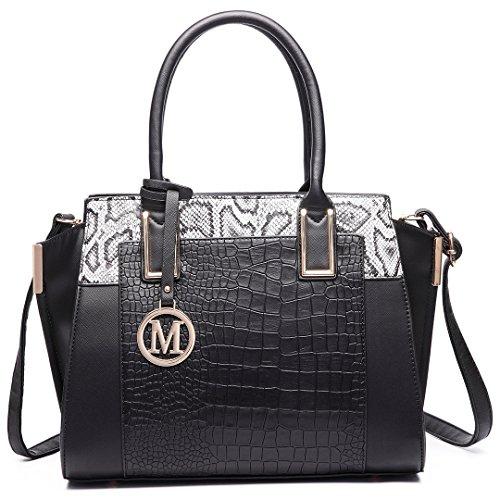 Miss LuLu Damentasche Bürotasche Elegant Handtasche Winged Tote Bag Schlangenplatte-Drucken (LT6623-Schwarz)