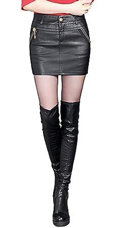 7f4aecbcfa6a Jupe Faux Cuir Taille Haute Femmes Parti Mince Jupe Crayon Sexy élastique Grand  Taille Noir Slim