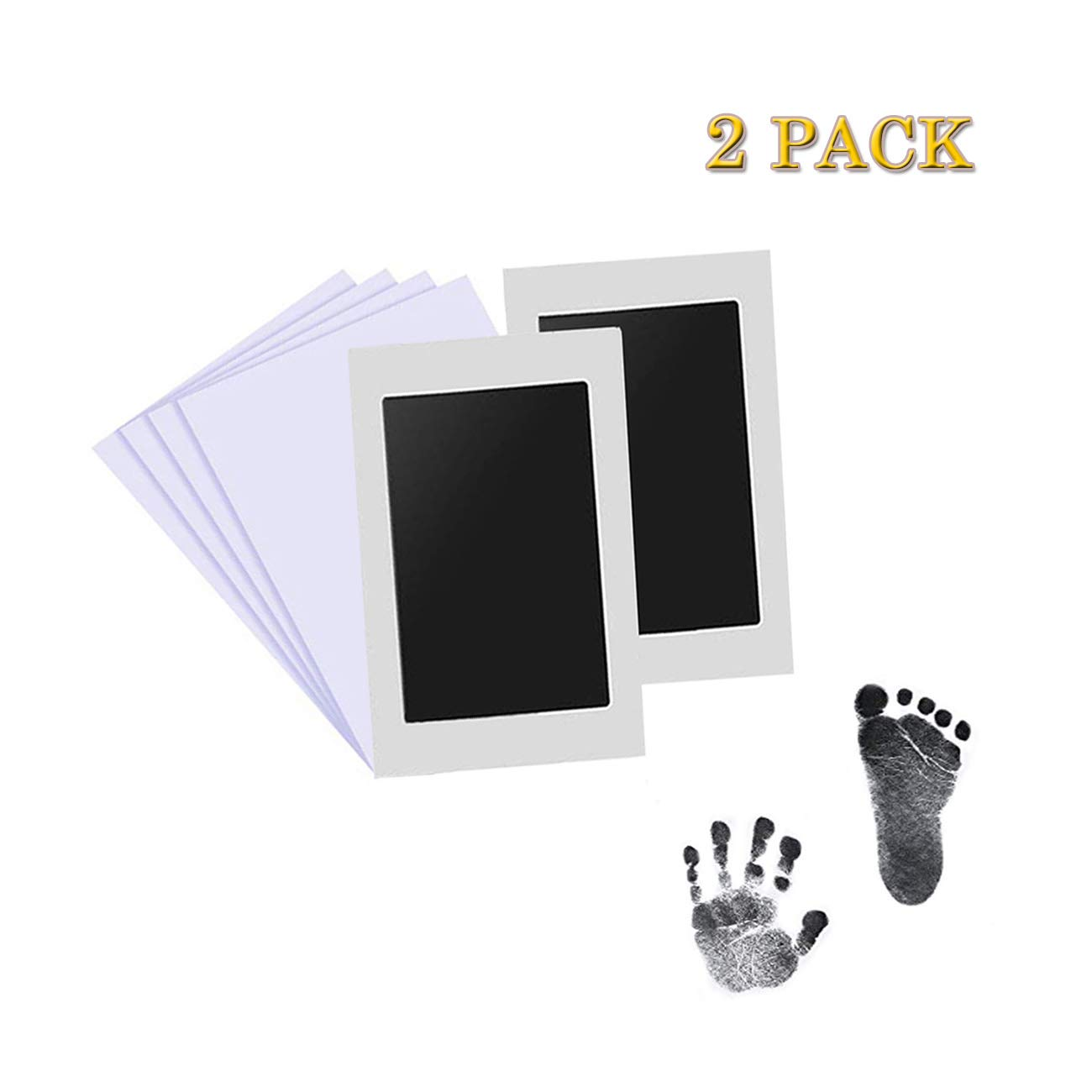 Nopson Baby Inkless Pad for Baby Footprints Hand Prints and Fingerprints Kit with 4 Extra Imprint Cards Perfect Keep Baby Memory Baby Shower Gift Black