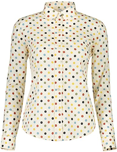 ERZTIAY Women's Tops Feminine Long Sleeve Polka Dotted Button Down Casual Dress Blouses Shirts (Beige, Small) ()