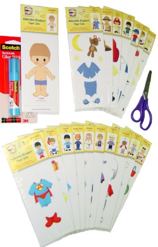 Adorable Kinders 20 Piece Landon Paper Doll Set