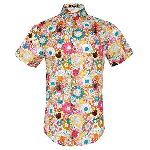 MCULIVOD Men's Printing Shirts,Hawaiian Flower Casual Button Down Short Sleeve Shirt
