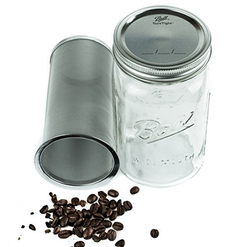 Cold Brew Coffee Maker Kit - 1 Quart (32 ounces) - Brew Delicious Cold Brew Coffee and Infuse Iced Tea with this Stainless Steel Filter and Wide Mouth Ball Mason Jar Kit at Home - 150 Micron Mesh (28 Oz Jar)
