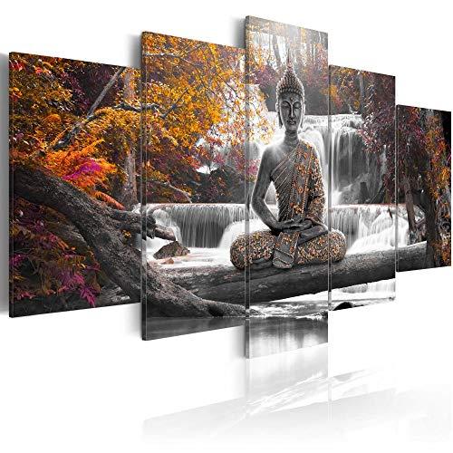 (Canvas Print Design Wall Art Painting Decor Zen Decorations for Home Buddha Landscape Artwork Pictures Bedroom (Orange, Over Size)
