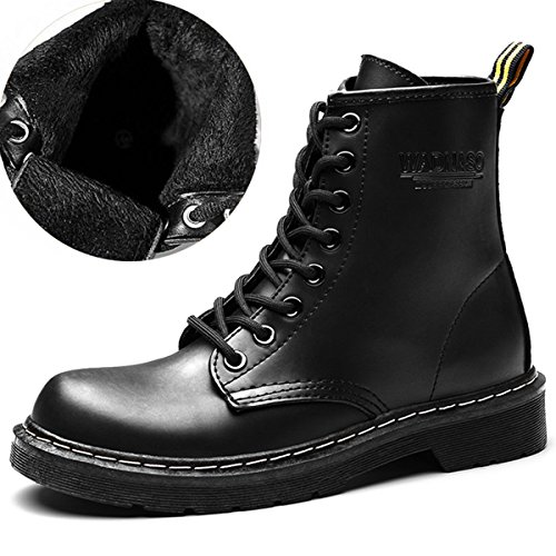Short Lace Up Winter Boots (Black) - 7