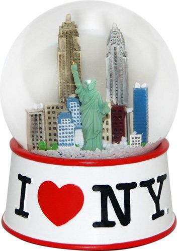 Official I Love New York White 35 mm Snowglobe