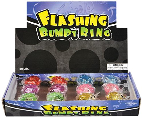 Rhode Island Novelty Flashing LED Bumpy Ring (24-Pack)