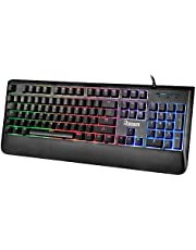 RECCAZR Mechanical Feel Gaming Keyboard, 3 Colors LED Backlit Keyboard with 104-Key, USB Wired Keyboard with 19 Anti-ghosting Keys for Laptop Computer