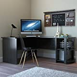 Ryan Rove Kristen Corner L-Shaped Computer Desk in Black