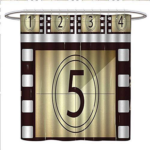 Anniutwo Movie Theater Shower Curtains Waterproof Scratched Film Strips Vintage Movie Frame Pattern Grunge Illustration Bathroom Decor Sets with Hooks W36 x L72 Beige Brown White