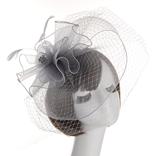 Fankeshi Women's Cocktail Sinamay Fascinator Hat Flower and Veil Hair Clip Hat Silver by Fankeshi (Image #4)