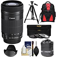 Canon EF-S 55-250mm f/4.0-5.6 IS STM Zoom Lens with 3 UV/CPL/ND8 Filters + Hood + Backpack + Tripod + Kit for EOS 70D, Rebel T3, T3i, T4i, T5, T5i, SL1 DSLR Cameras