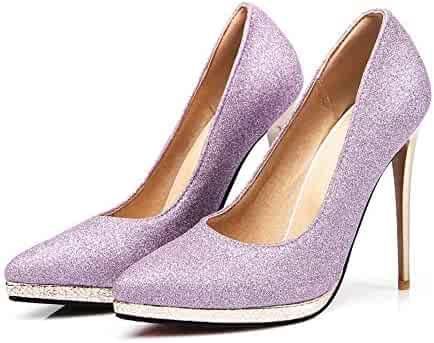 98ac7e809a14a Purple Pointed Stiletto Shoes Single Shoes Platform Stiletto Shoes,Wemens Ladies  high Heel Pointed Contrast