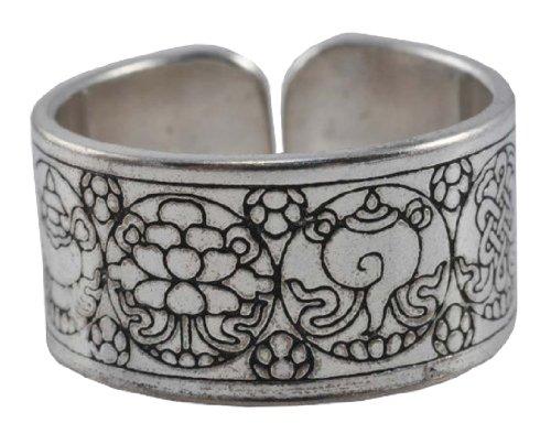 Tibetan 8 Auspicious Signs Engraved White Metal Ring