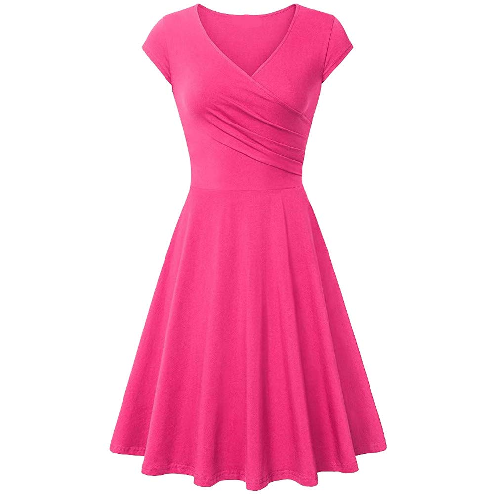 Ulanda Womens Elegant Dresses Cross Wrap V Neck Cap Sleeve A Line Dress Simple Chic Evening Party Dress Pink
