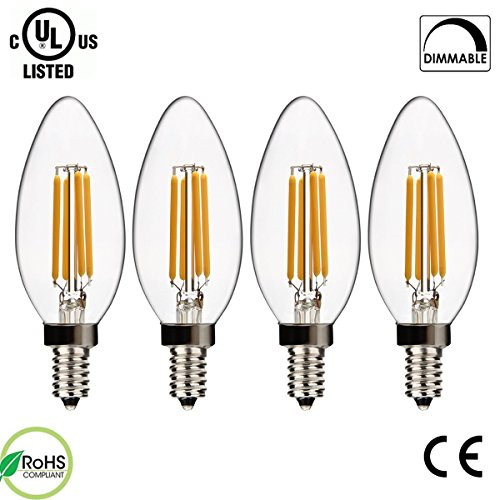 SUPERNIGHT 4W Dimmable Filament Candelabra Clear LED Bulbs, 2700K Warm White, E12 Base C35 LED Candle Light Bulb, 40W Incandescent Replacement, 4 Pack (Dimmable Led Light Bulbs 40w compare prices)