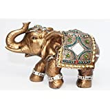 "Feng Shui Brass Color 6"" Elegant Elephant Trunk Statue Wealth Lucky Figurine Home Decor Gift US Seller (14832)"