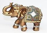 "Feng Shui Brass Color 6"" Elegant Elephant Trunk Statue Wealth Lucky Figurine Home Decor Gift US Seller (14832)"