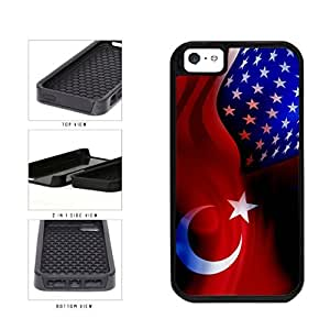 Turkey and USA Mixed Flag 2-Piece Dual Layer Phone Case Back Cover Apple iPhone 5 5s