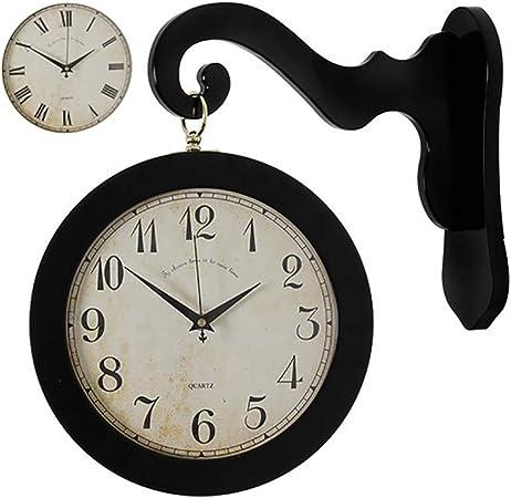 HYwot Reloj de Pared clásico de Madera Reloj Colgante de jardín de Doble Cara Vintage Entrada Decoración para el hogar Reloj de Pared de Metal,Negro,A: Amazon.es: Hogar
