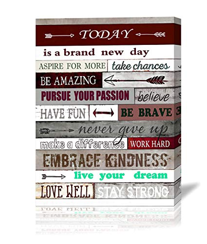 Inspirational Office Wall Art Today is A New Day Motivational Poster Quotes Office Wall Decor for Living Room Bedroom Bathroom Decoration Canvas Print Framed Art Ready to Hang 12x16inch