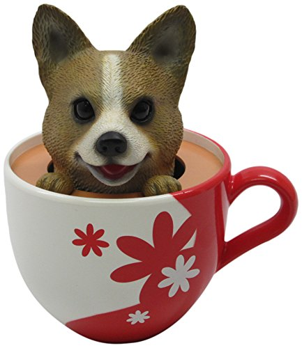 Idea Max Peek-A-Pet Bobble Heads Flowers Corgi (Tea Cup) -