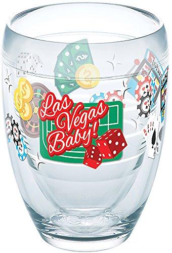 Tervis 1272781 Nevada - Las Vegas Casino Tumbler with Wrap 9oz Stemless Wine Glass, Clear Casino Las Vegas Glass