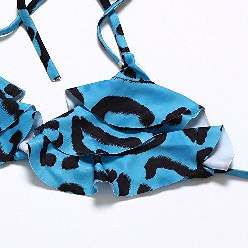 YONGYI la moda de Europa y América la playa del verano del bikini triángulo atractiva bajo la cintura Europa y el gran tamaño de la impresión atractiva del leopardo correa del traje de baño bikini tri azul
