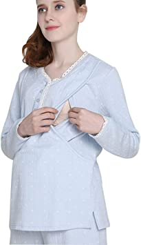 Pijamas Pijamas Mujeres Embarazadas de Algodón Ropa de Dormir Rosa Embarazo Homedressing Traje Lactancia Ropa Embarazada Regalo de las señoras Pijamas de una pieza (Color : Light blue , Size :