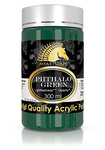 Paint Dark Green Acrylic - Acrylic Paint - 300ml (10oz) - Heavy Body - Lightfast - Artist Quality - MyArtscape (Phthalo Green)