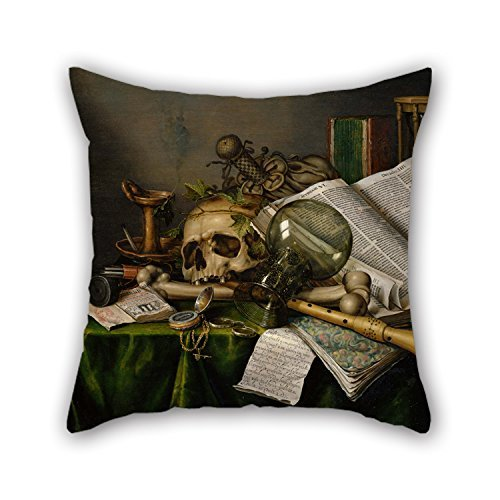 beautifulseason Oil Painting Edwaert Collier - Vanitas - Still Life With Books And Manuscripts And A Skull Throw Cushion Covers 16 X 16 Inches/40 By 40 Cm Gift Or Decor For Wife,father,dining Roo ALovjp