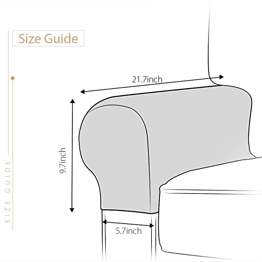 Beige Baoblaze 2Pcs Elastic Chair Sofa Armrest Covers Armchair Slipcovers Protector,Stretch to Fit