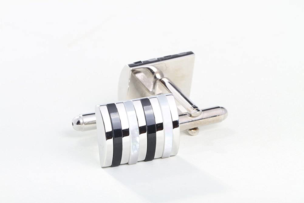Black Digabi Mother of Pearl and Agate Cufflinks Gift Boxed White