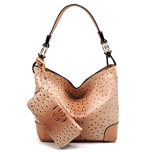 2 PC Set Ostrich Croco Embossed Vegan Faux Leather Hobo Shoulder Bag Classic Bucket Purse with Matching Wallet (BLUSH PINK)