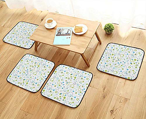 Bubble Club Chair (Chair Cushions and Green Bubble Like Circle and Dots Pattern Design Print Light Green Light Non Slip Comfortable W25.5 x L25.5/4PCS Set)