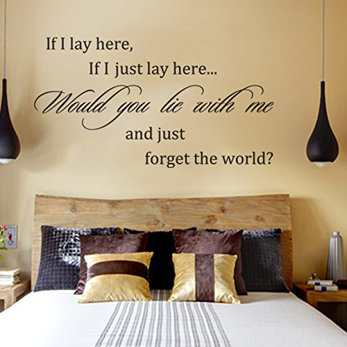 If I lay here if I just lay here would you lie with me and just forget the world - Snow Patrol Music Quote Wall Art Decal (Black, Small)