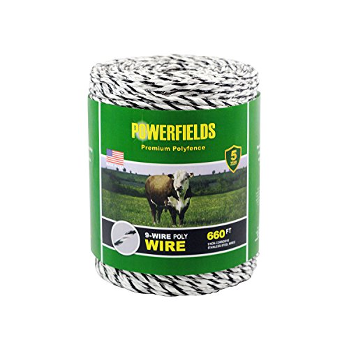 Powerfields EW936-660 9 Wire Polywire, 660-Feet, White/Black