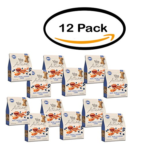 PACK OF 12 - Vita Bone Artisan Inspired Maple Bacon and Blueberry Flavor Biscuit by Vita Bone