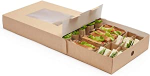Slide Tek 17.7 x 12.2 x 3.2 Inch Catering Trays, 10 Grease-Resistant Catering Boxes - Cover With Window Included, Side Lock, Kraft Paper Catering Food Containers, Recyclable, Inserts Sold Separately