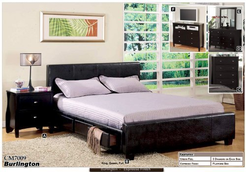 new modern espresso standard eastern king size bed with 6 storage drawers - King Size Bed With Storage